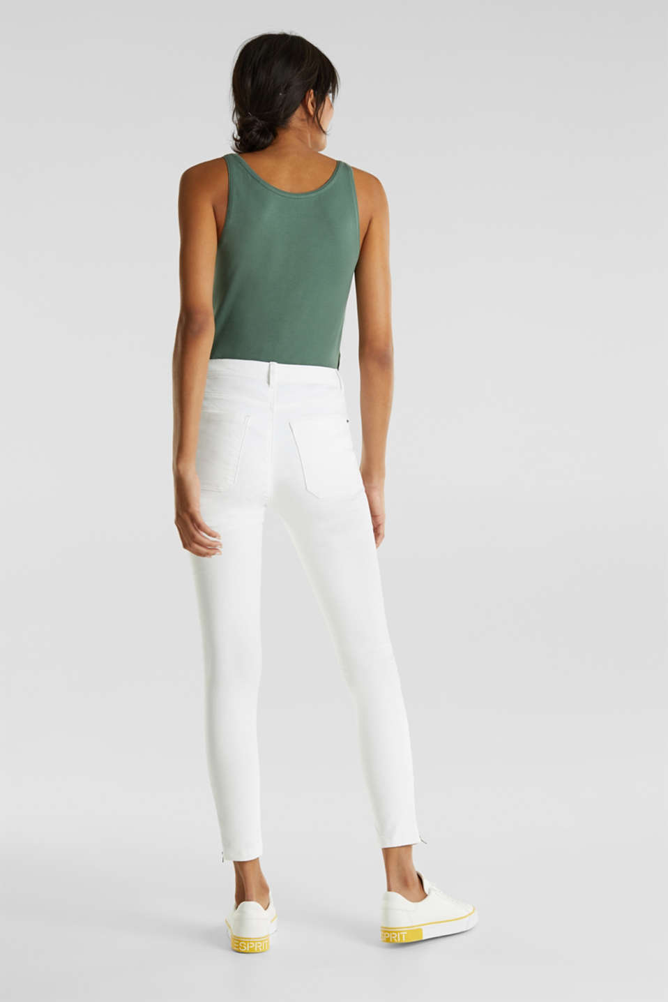 Knee-length trousers with hem zips, WHITE, detail image number 3