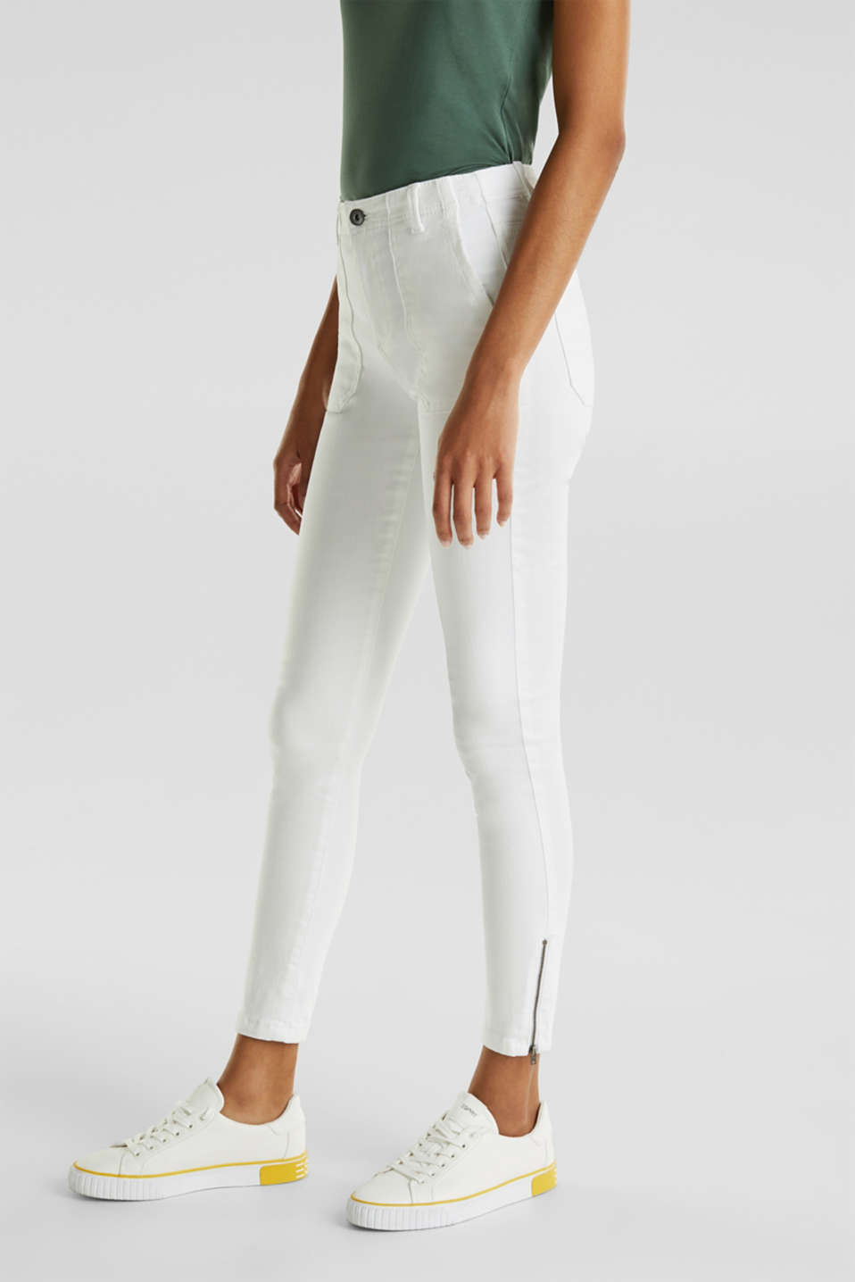 Knee-length trousers with hem zips, WHITE, detail image number 6