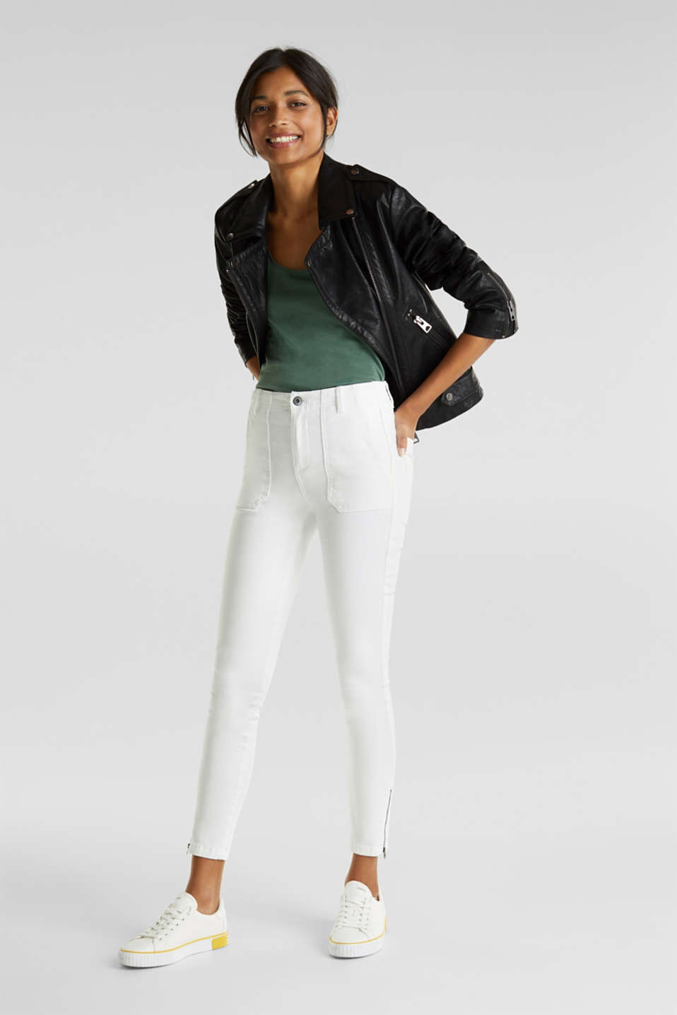 Knee-length trousers with hem zips, WHITE, detail image number 1