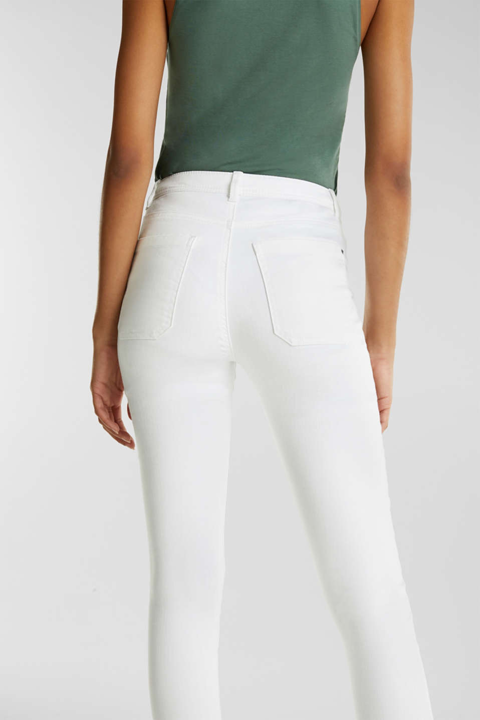 Knee-length trousers with hem zips, WHITE, detail image number 5