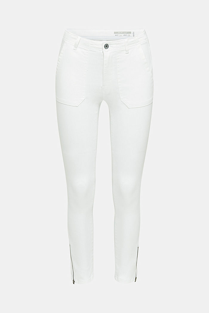 Ankle-length trousers with zips, WHITE, detail image number 7