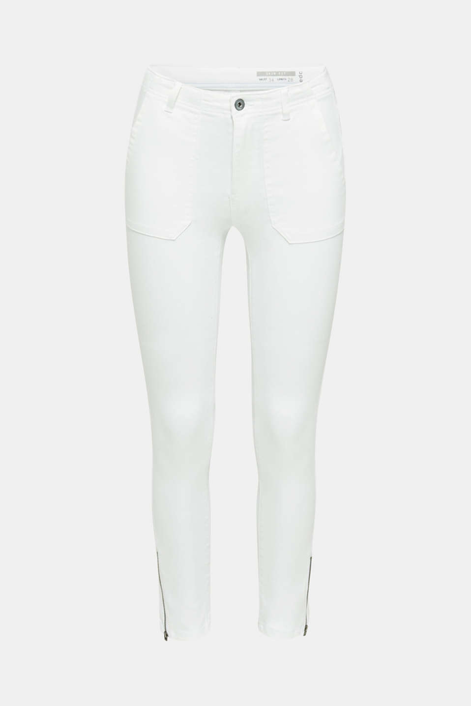 Knee-length trousers with hem zips, WHITE, detail image number 7