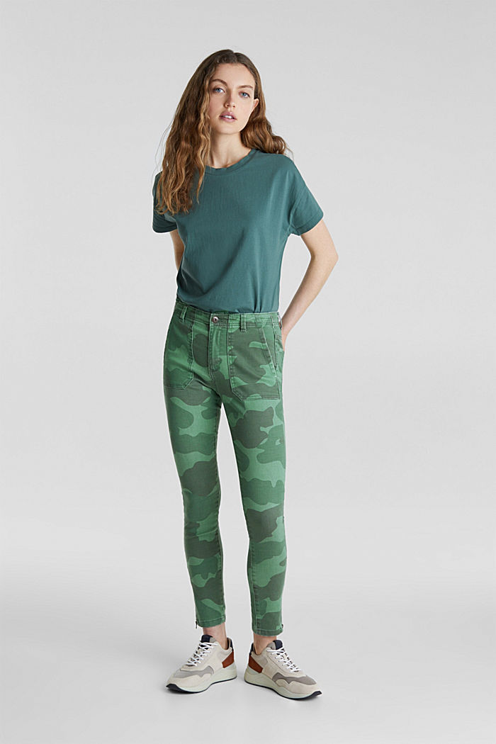 Camouflage trousers with hem zips, KHAKI GREEN, detail image number 0