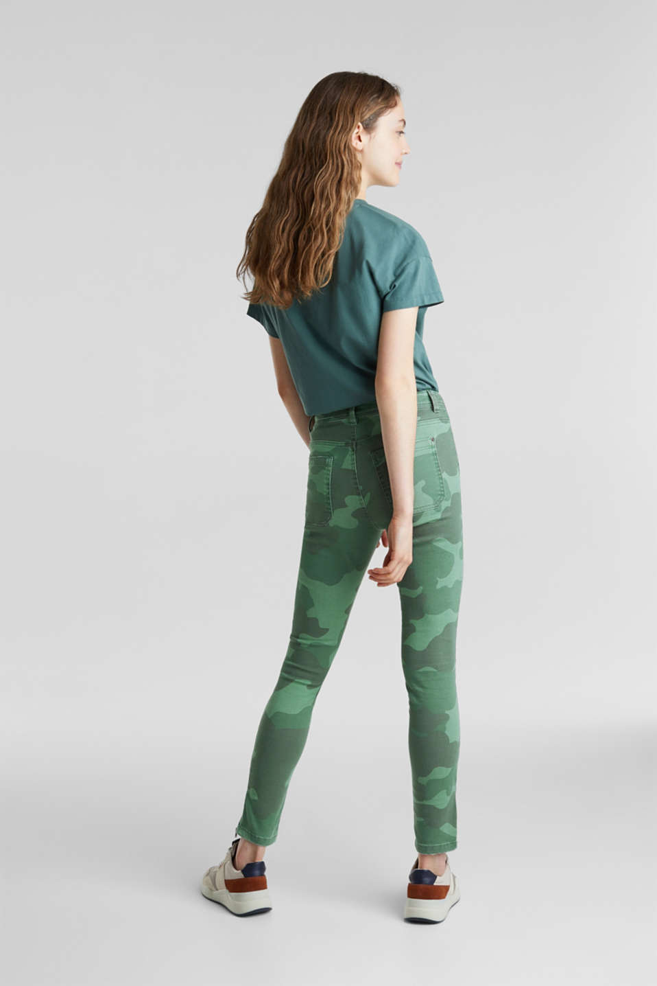 Camouflage trousers with hem zips, KHAKI GREEN, detail image number 3