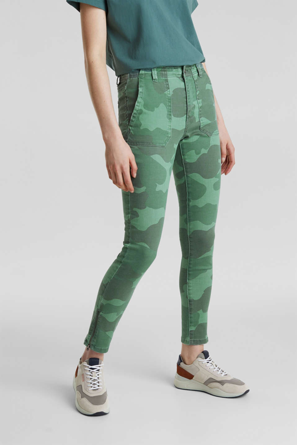 Camouflage trousers with hem zips, KHAKI GREEN, detail image number 6