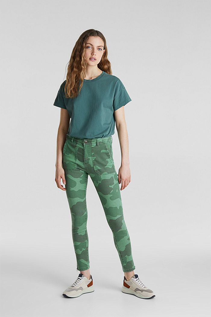 Camouflage-Pants mit Saum-Zippern, KHAKI GREEN, detail image number 1
