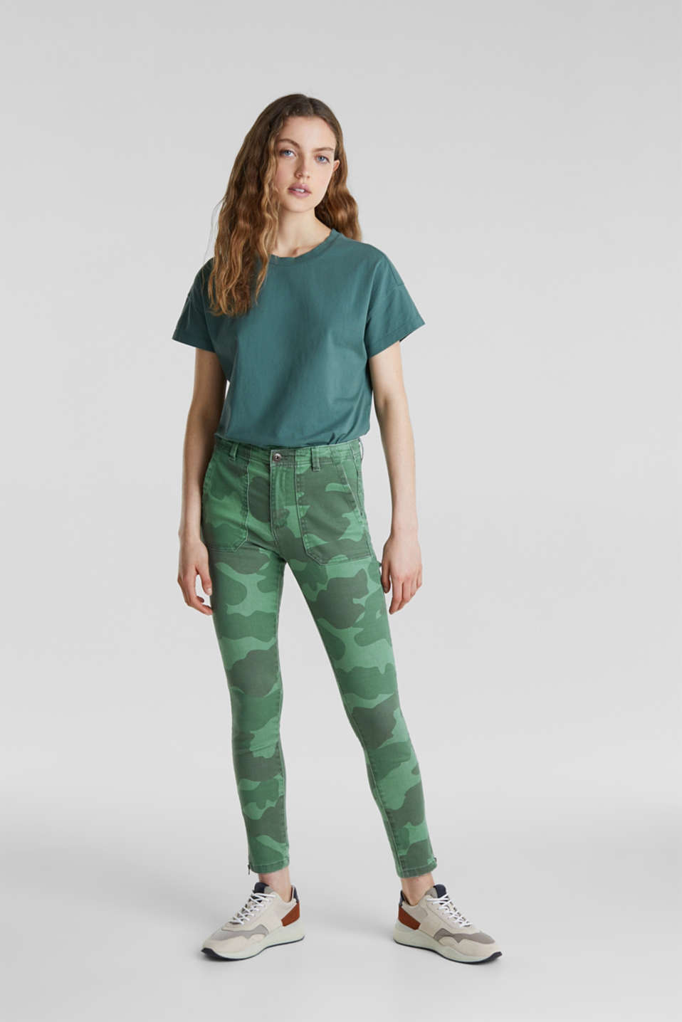 Camouflage trousers with hem zips, KHAKI GREEN, detail image number 1