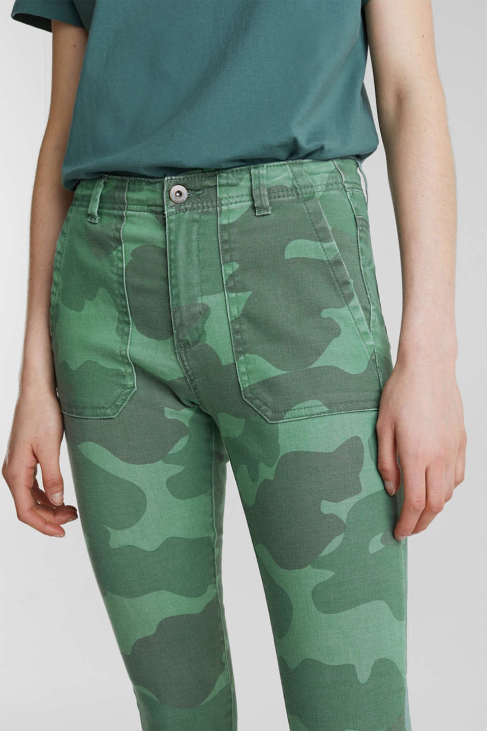 Camouflage trousers with hem zips, KHAKI GREEN, detail image number 2