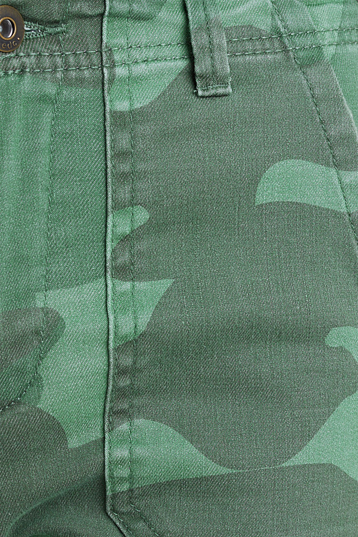 Camouflage trousers with hem zips, KHAKI GREEN, detail image number 4