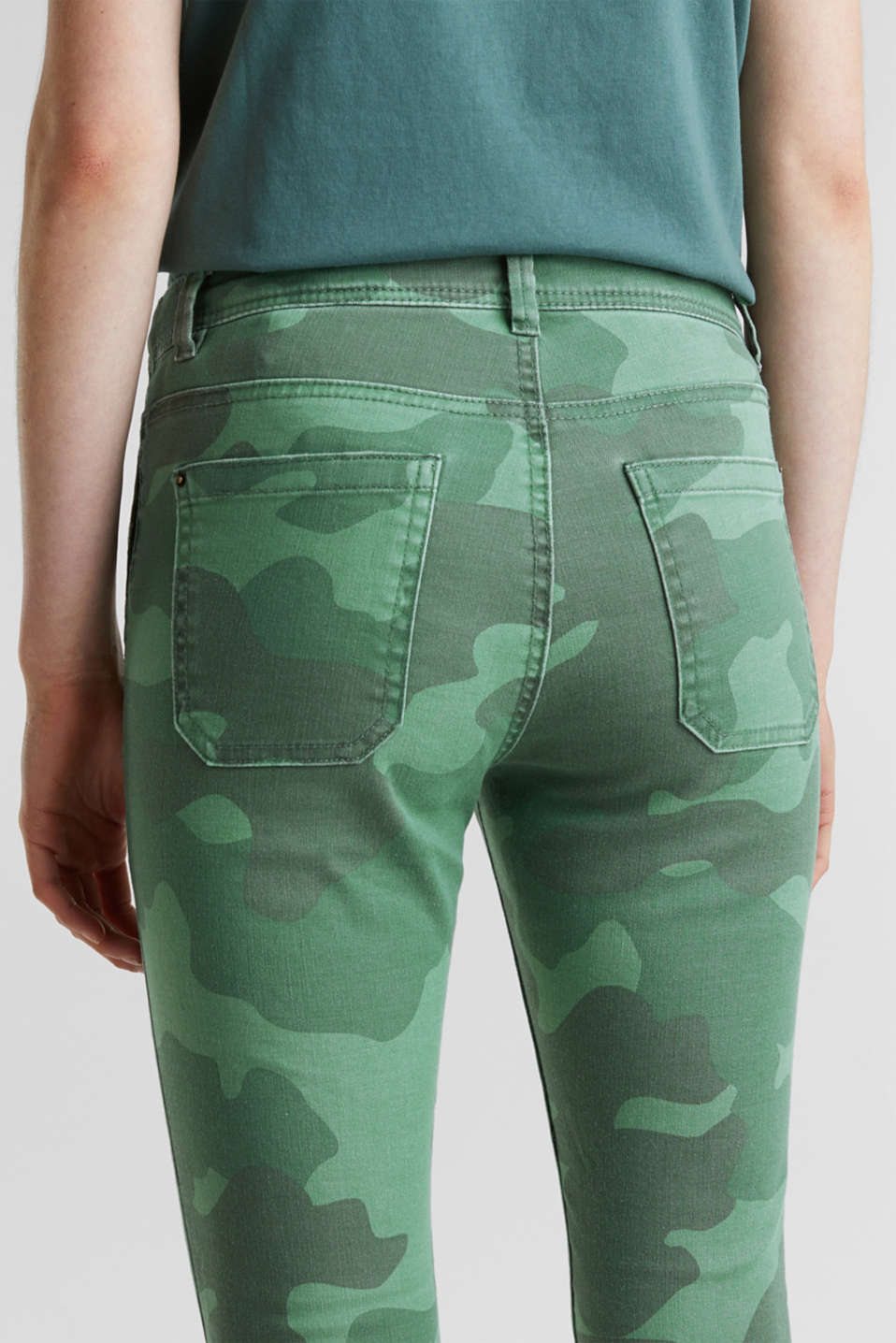 Camouflage trousers with hem zips, KHAKI GREEN, detail image number 5