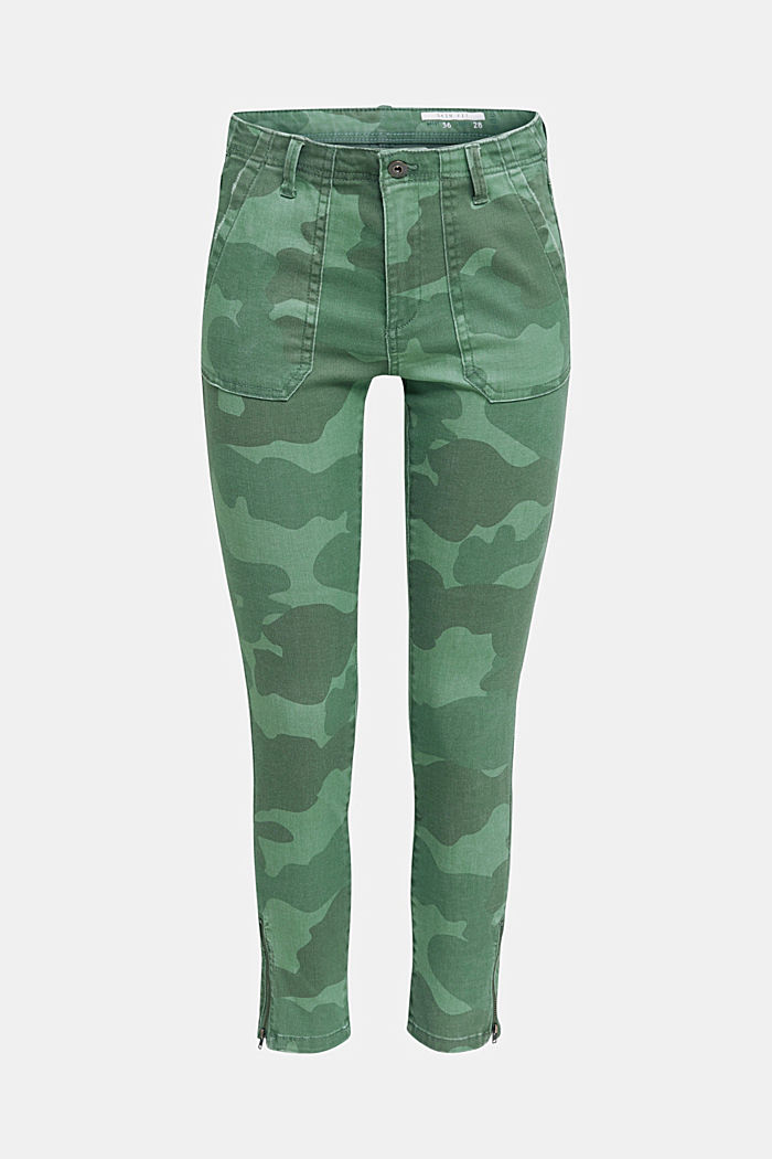Camouflage trousers with hem zips, KHAKI GREEN, detail image number 7