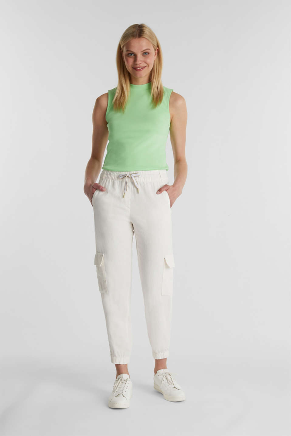 Linen blend: cargo trousers, OFF WHITE, detail image number 1