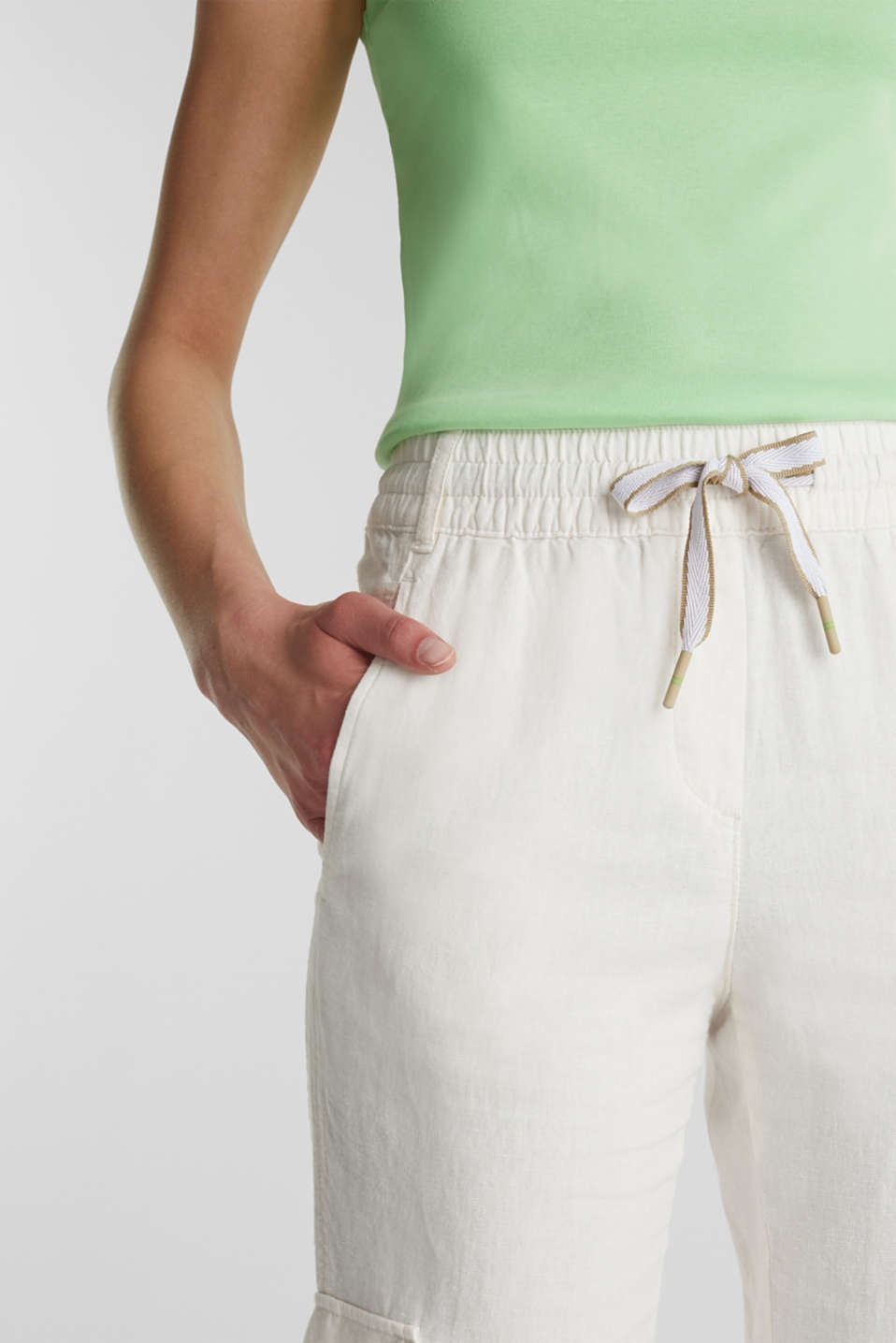 Linen blend: cargo trousers, OFF WHITE, detail image number 2