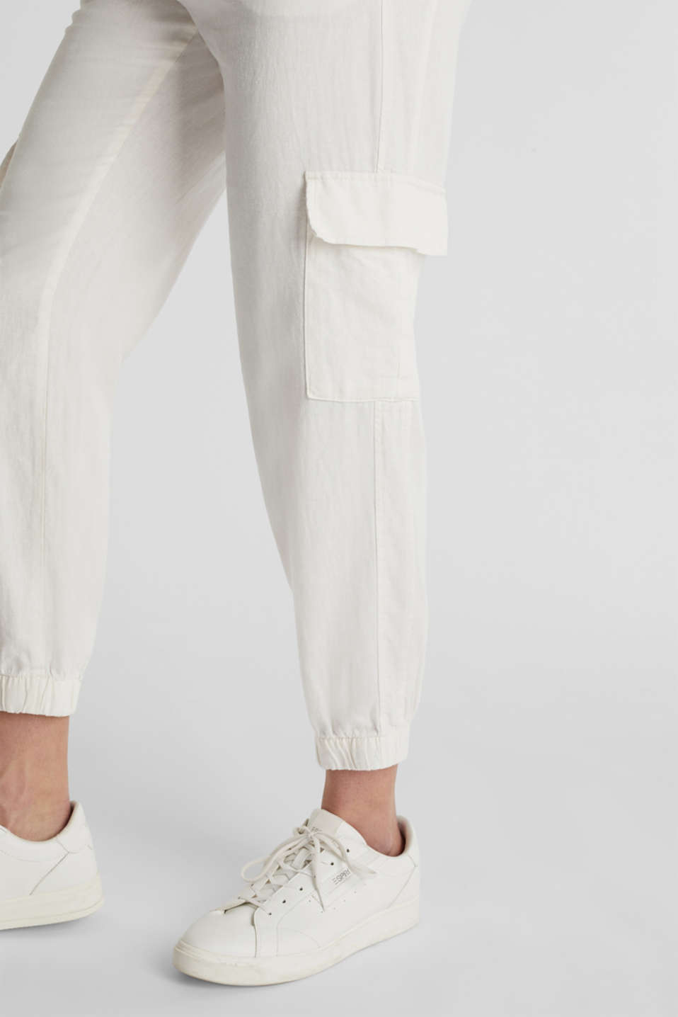 Linen blend: cargo trousers, OFF WHITE, detail image number 5