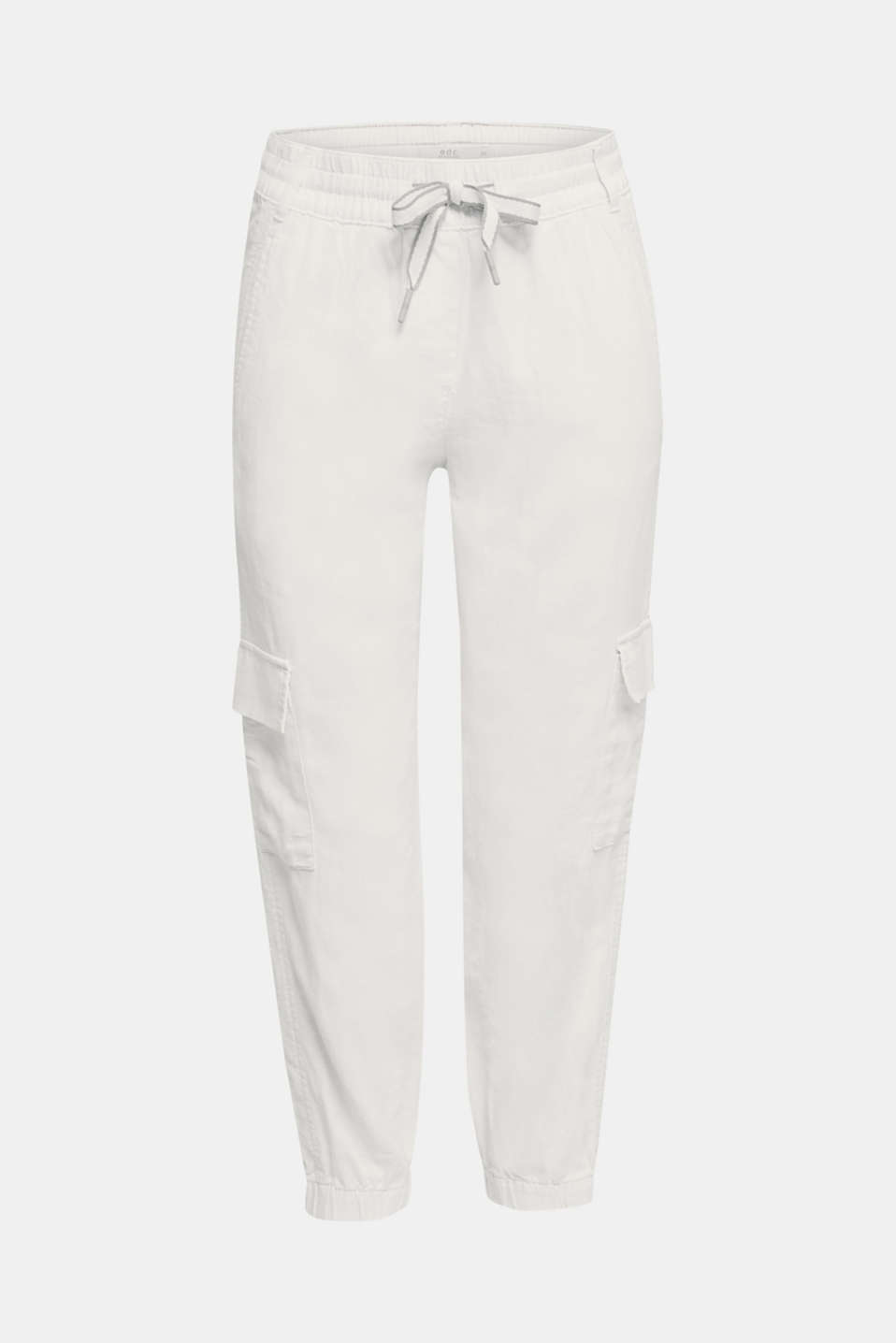 Linen blend: cargo trousers, OFF WHITE, detail image number 6