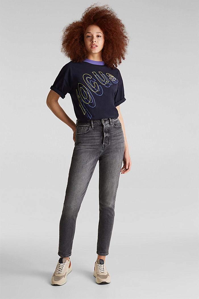 High-waist jeans met knoopsluiting, BLACK DARK WASHED, detail image number 0