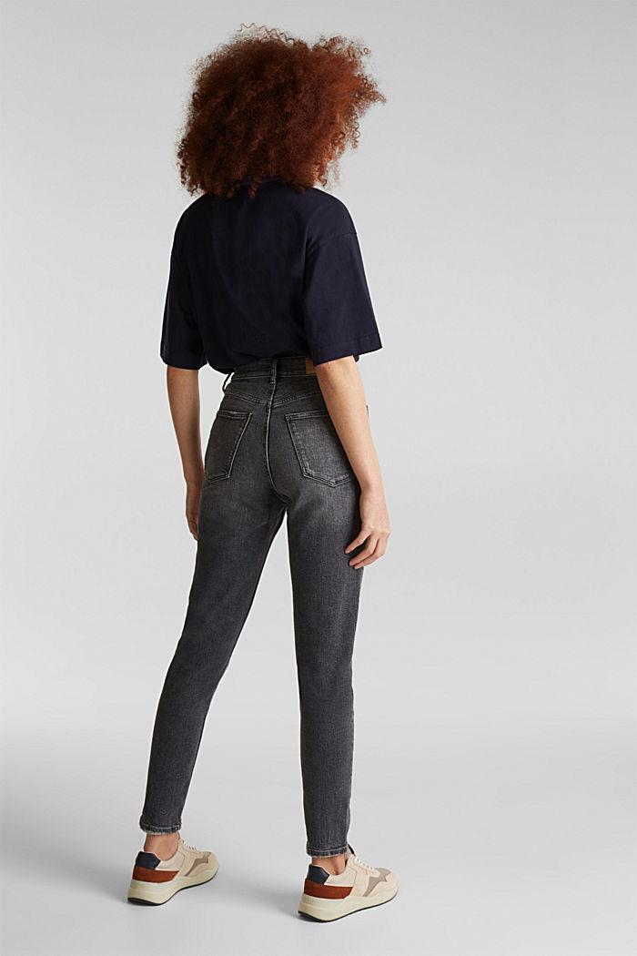 High-waist jeans met knoopsluiting, BLACK DARK WASHED, detail image number 3
