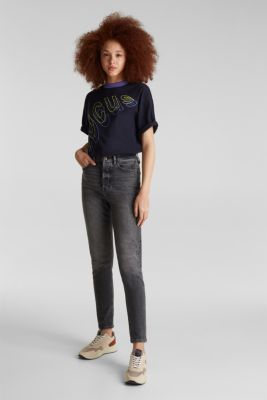 High-waisted jeans with a button fly, BLACK DARK WASH, detail