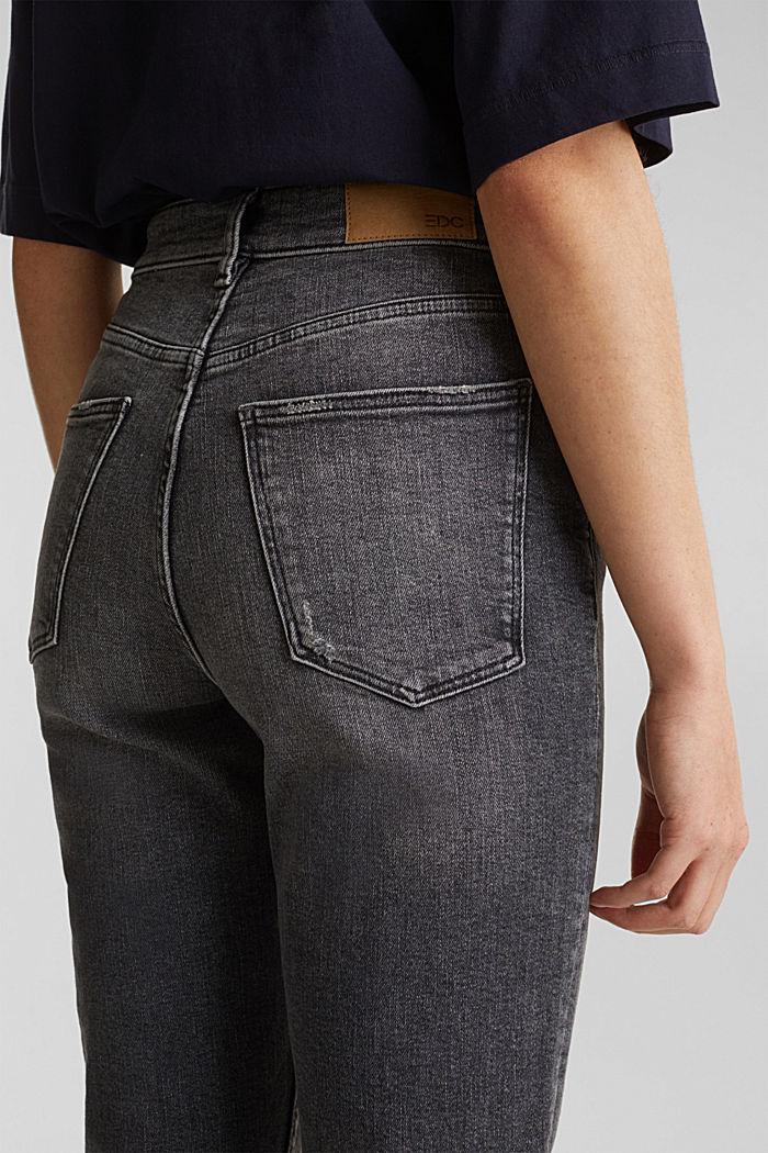 High-waist jeans met knoopsluiting, BLACK DARK WASHED, detail image number 5