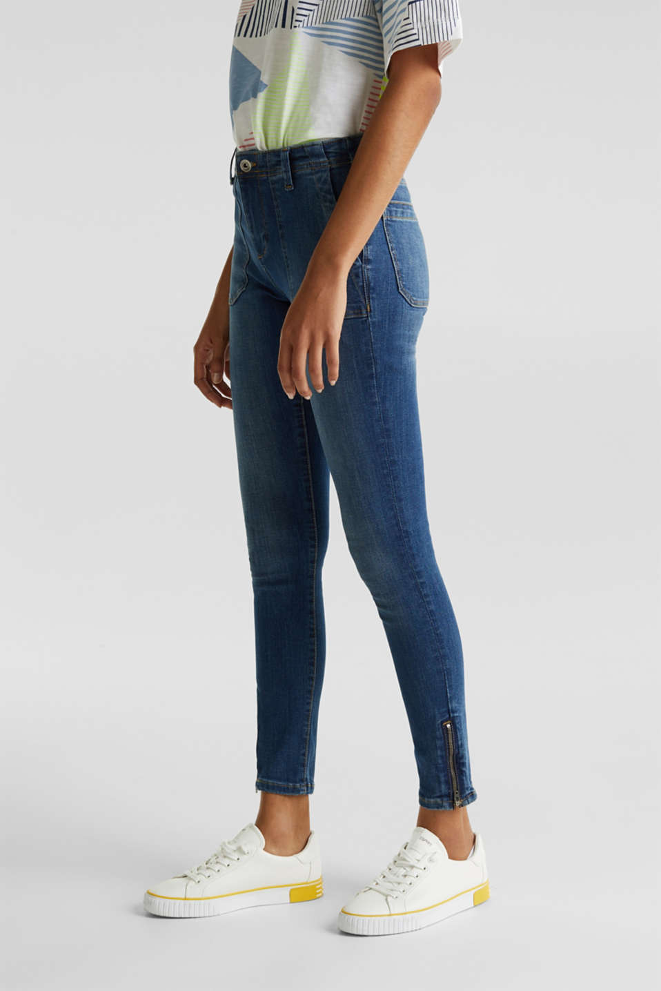 Ankle-length jeans with zips, BLUE MEDIUM WASH, detail image number 6