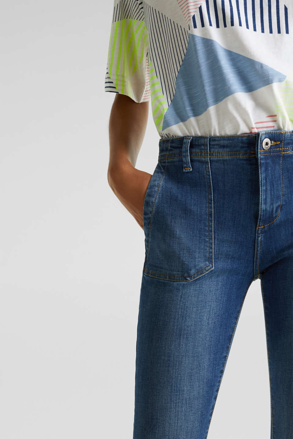 Ankle-length jeans with zips, BLUE MEDIUM WASH, detail image number 2