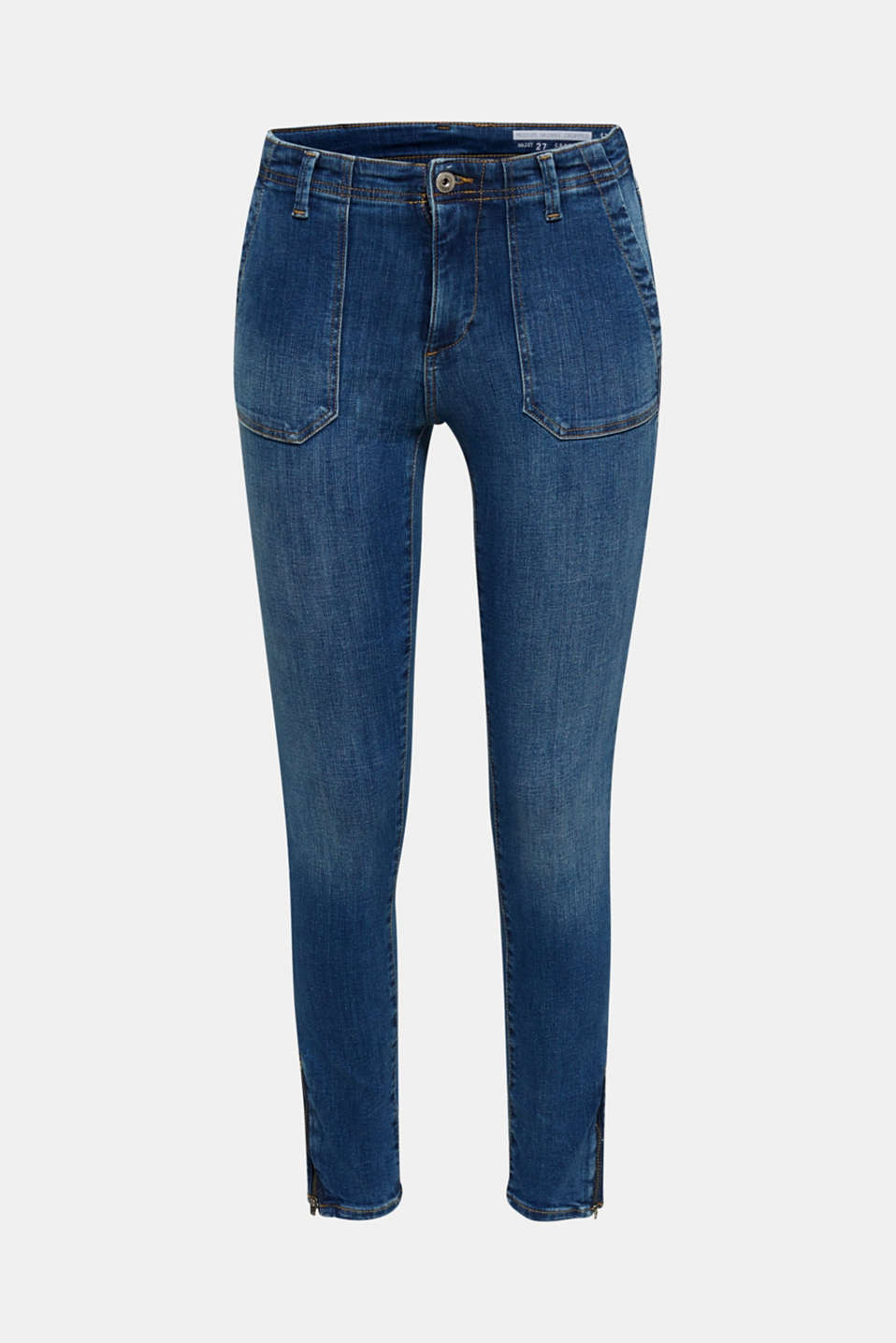 Ankle-length jeans with zips, BLUE MEDIUM WASH, detail image number 7