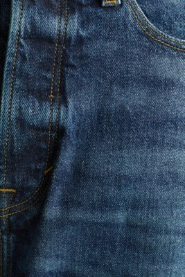 Jeans with a button fly and organic cotton, BLUE DARK WASH, detail