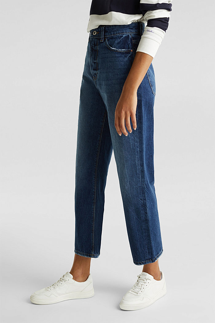 Ankle-length stretch jeans with a wide leg, BLUE MEDIUM WASHED, detail image number 0