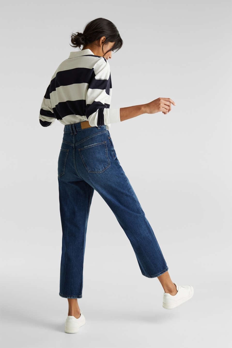 Ankle-length stretch jeans with a wide leg, BLUE MEDIUM WASH, detail image number 3