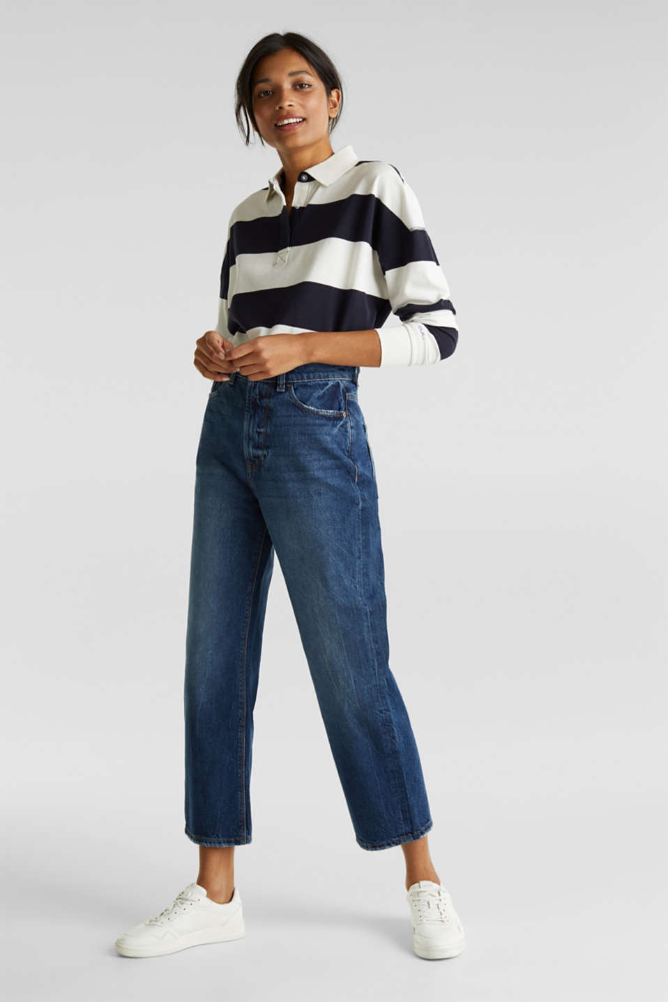 Ankle-length stretch jeans with a wide leg, BLUE MEDIUM WASH, detail image number 1