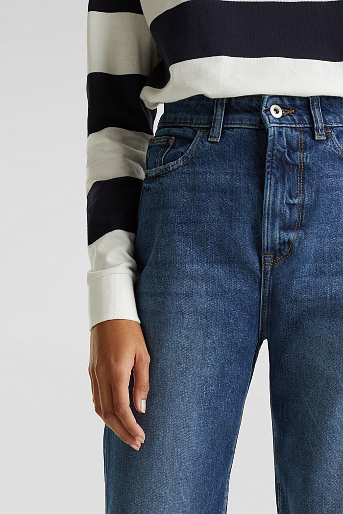 Ankle-length stretch jeans with a wide leg, BLUE MEDIUM WASHED, detail image number 2