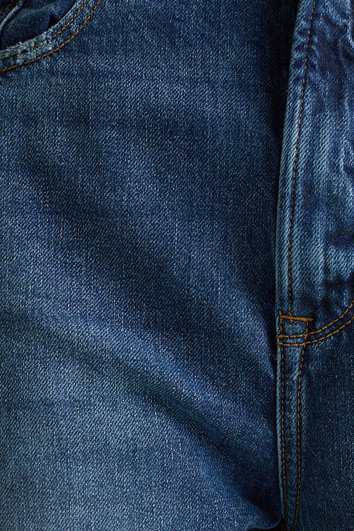 Ankle-length stretch jeans with a wide leg, BLUE MEDIUM WASHED, detail image number 4