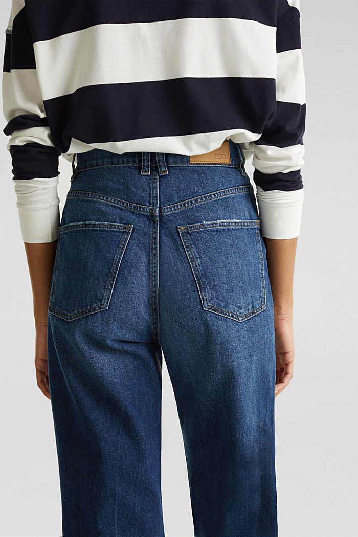 Ankle-length stretch jeans with a wide leg, BLUE MEDIUM WASHED, detail image number 5