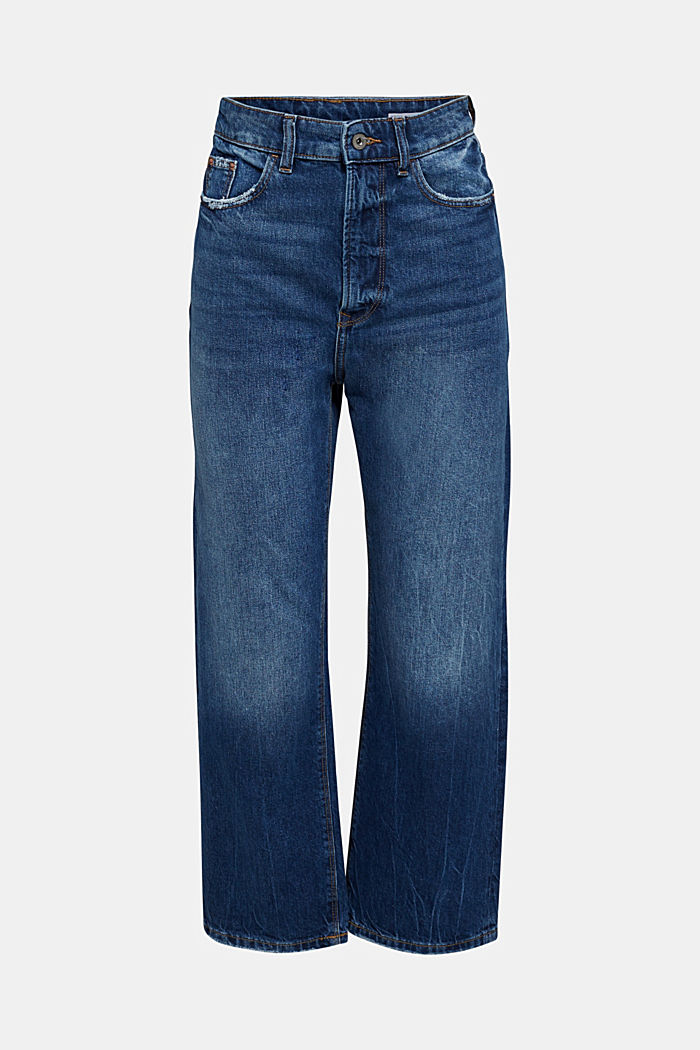 Ankle-length stretch jeans with a wide leg, BLUE MEDIUM WASHED, detail image number 6