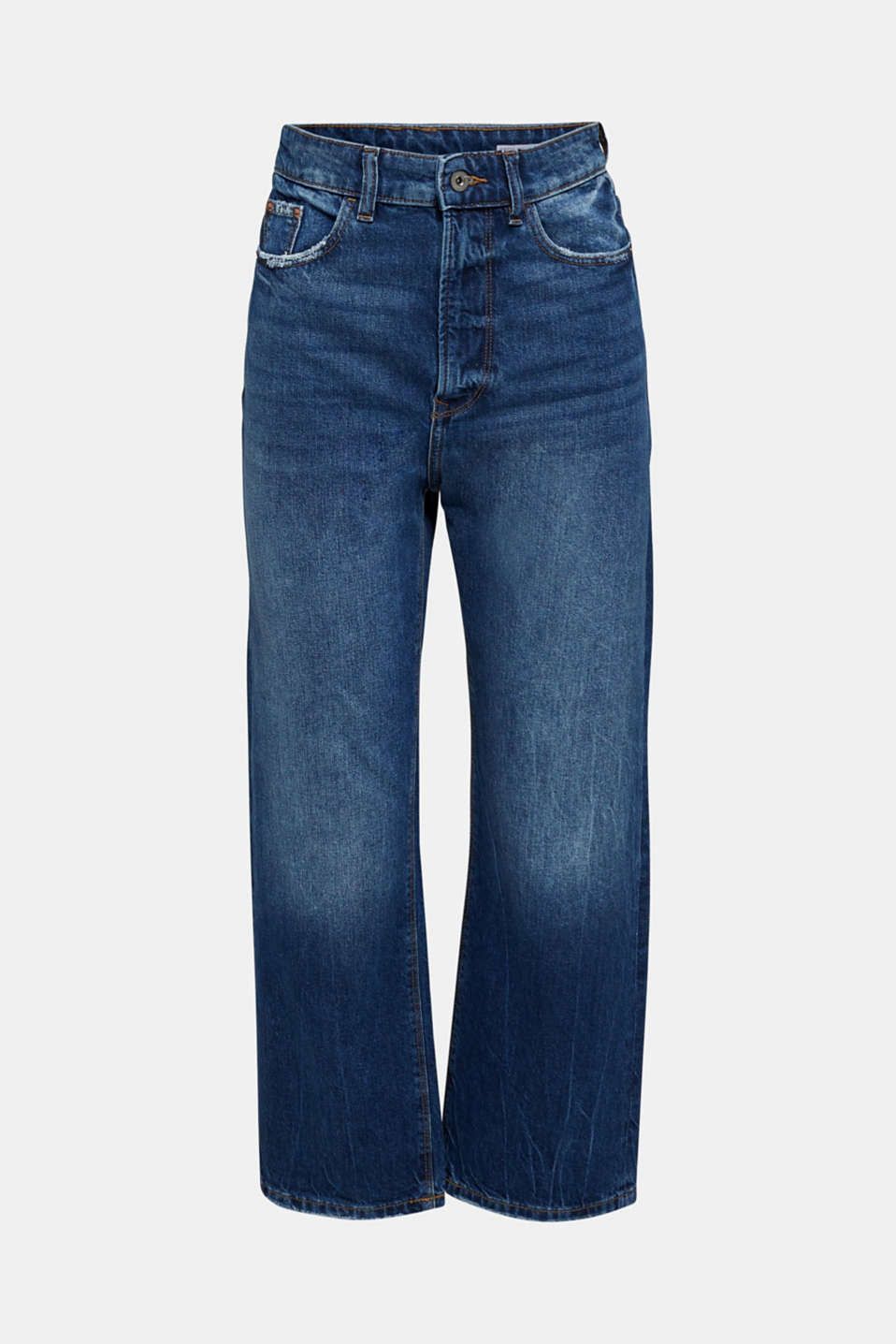 Ankle-length stretch jeans with a wide leg, BLUE MEDIUM WASH, detail image number 6