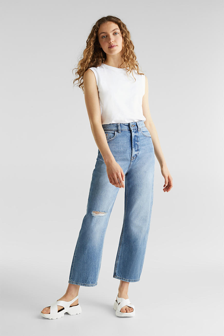 Ankle-length stretch jeans with a wide leg