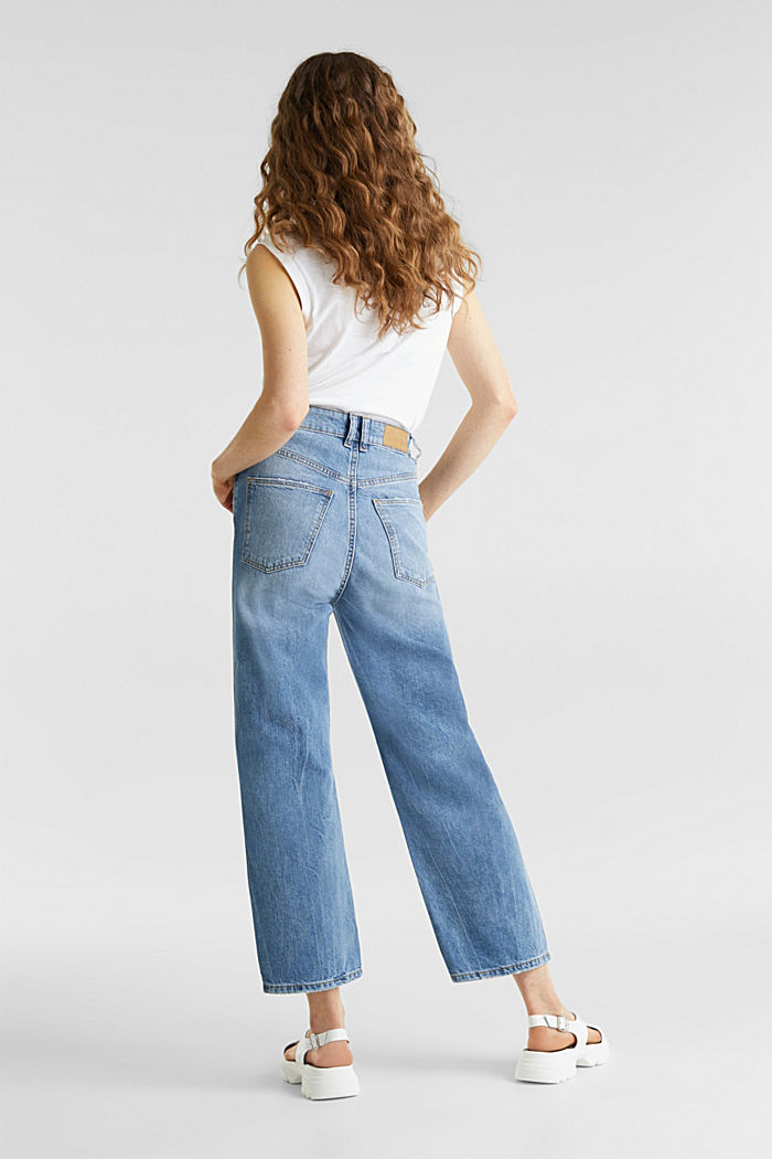 Ankle-length stretch jeans with a wide leg, BLUE LIGHT WASHED, detail image number 3