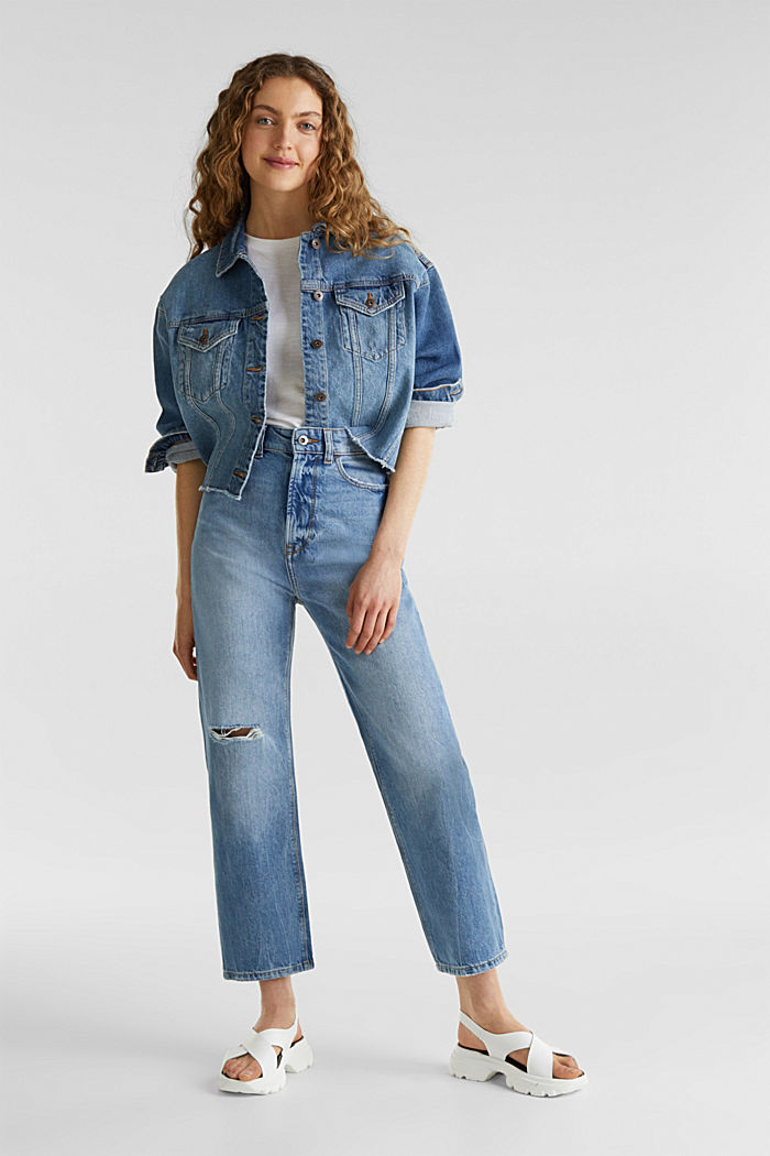 Ankle-length stretch jeans with a wide leg, BLUE LIGHT WASHED, detail image number 1