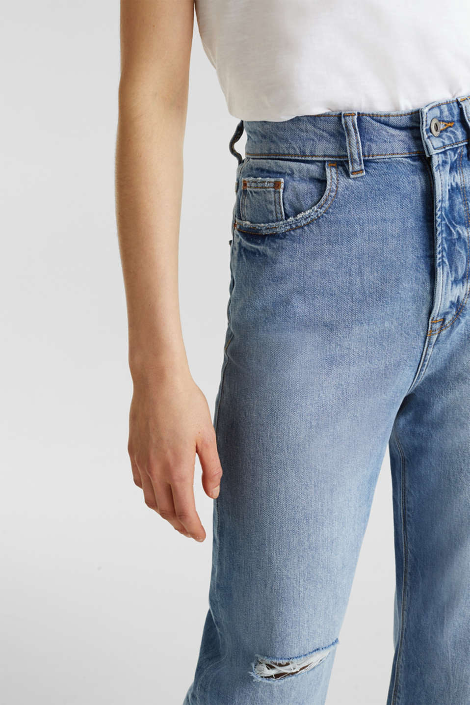 Ankle-length stretch jeans with a wide leg, BLUE LIGHT WASH, detail image number 2