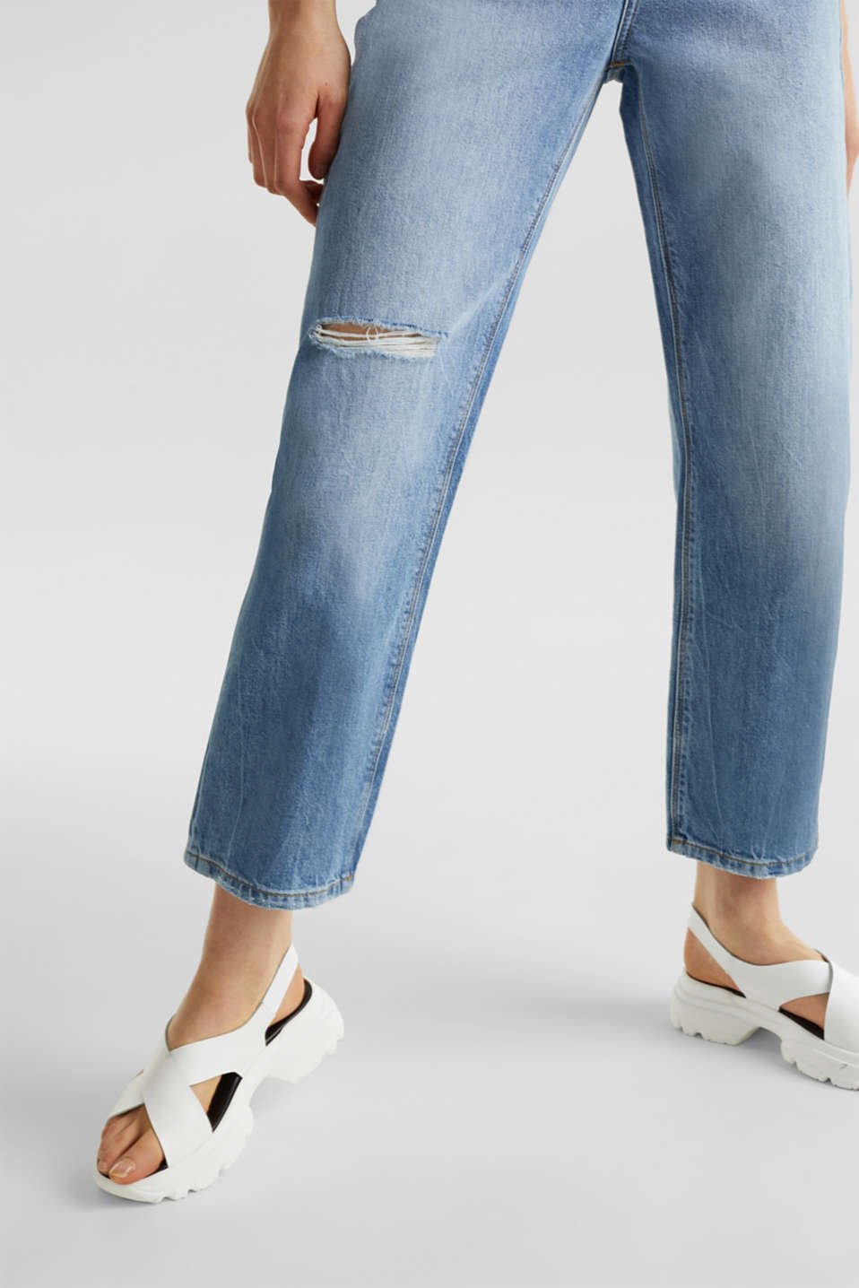 Ankle-length stretch jeans with a wide leg, BLUE LIGHT WASH, detail image number 5