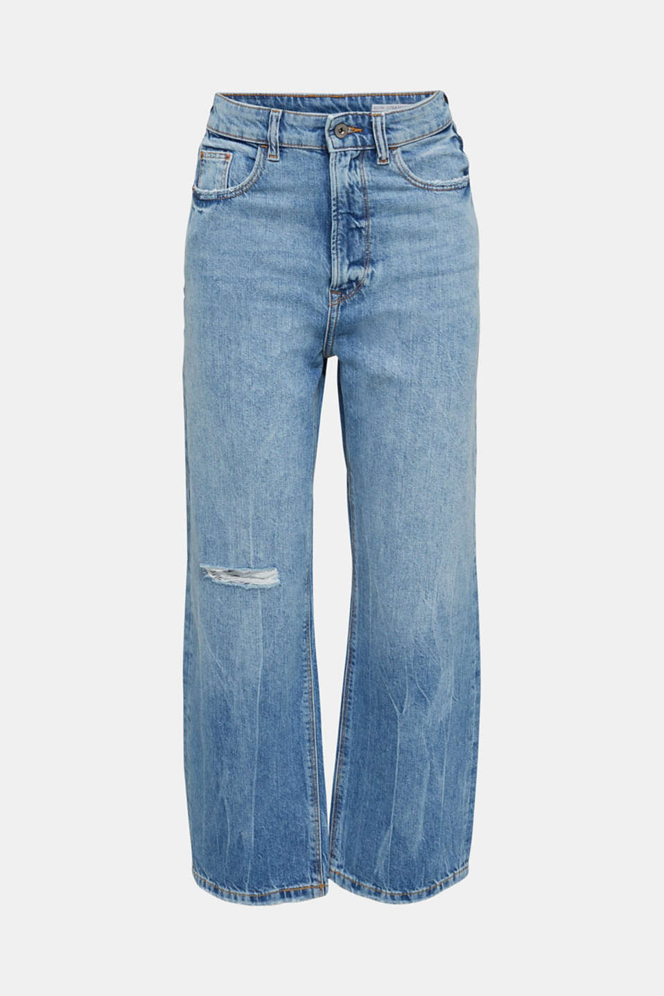 Ankle-length stretch jeans with a wide leg, BLUE LIGHT WASH, detail image number 6