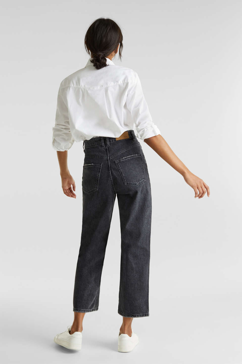 Ankle-length stretch jeans with a wide leg, BLACK RINSE, detail image number 3