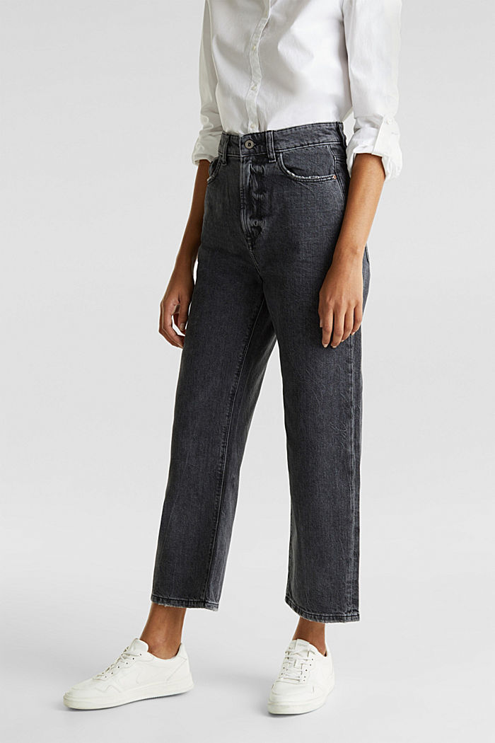 Enkellange jeans met wijde pijpen, BLACK RINSE, detail image number 6