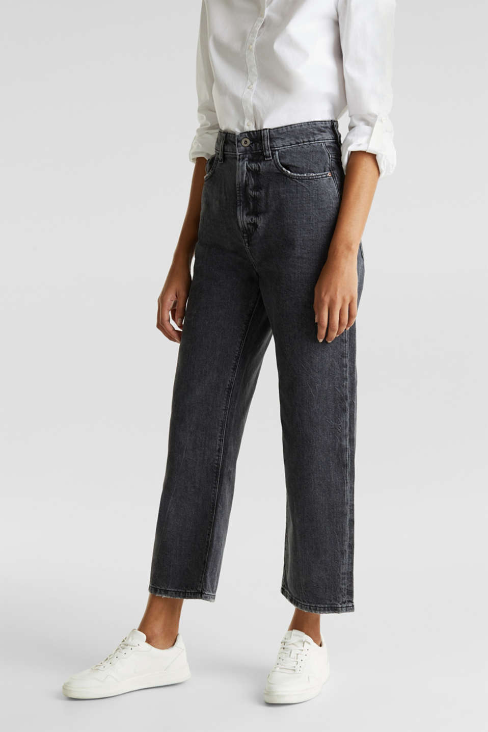 Ankle-length stretch jeans with a wide leg, BLACK RINSE, detail image number 6