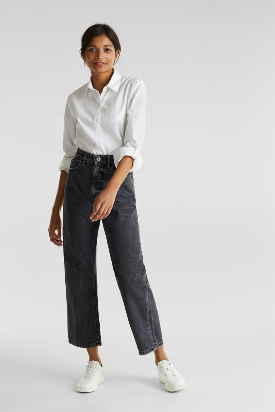 Ankle-length stretch jeans with a wide leg, BLACK RINSE, detail image number 1