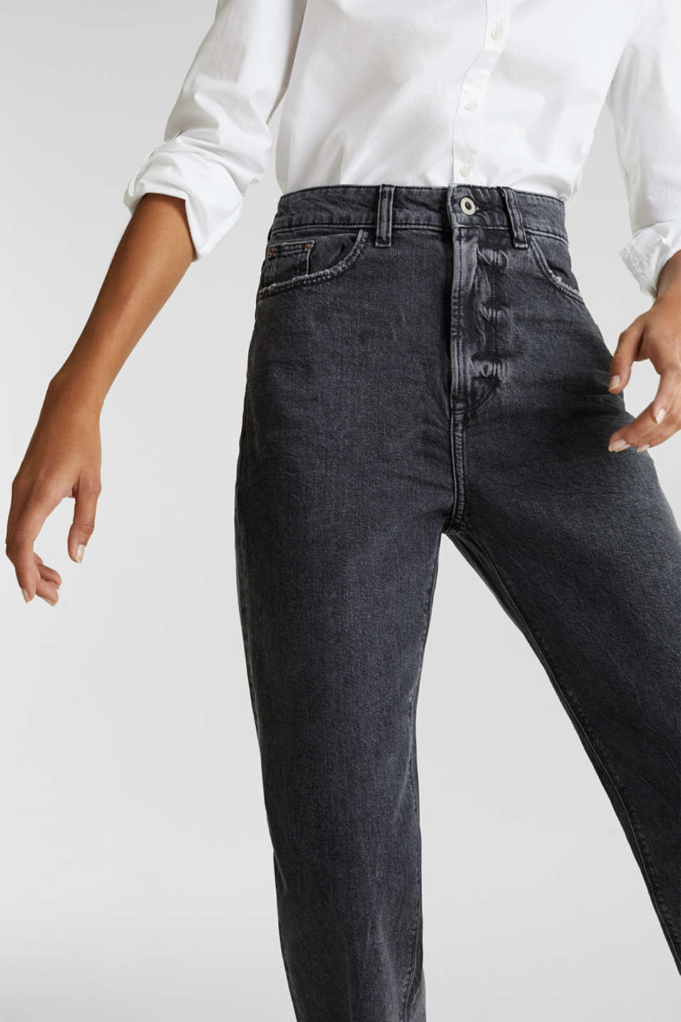 Ankle-length stretch jeans with a wide leg, BLACK RINSE, detail image number 2