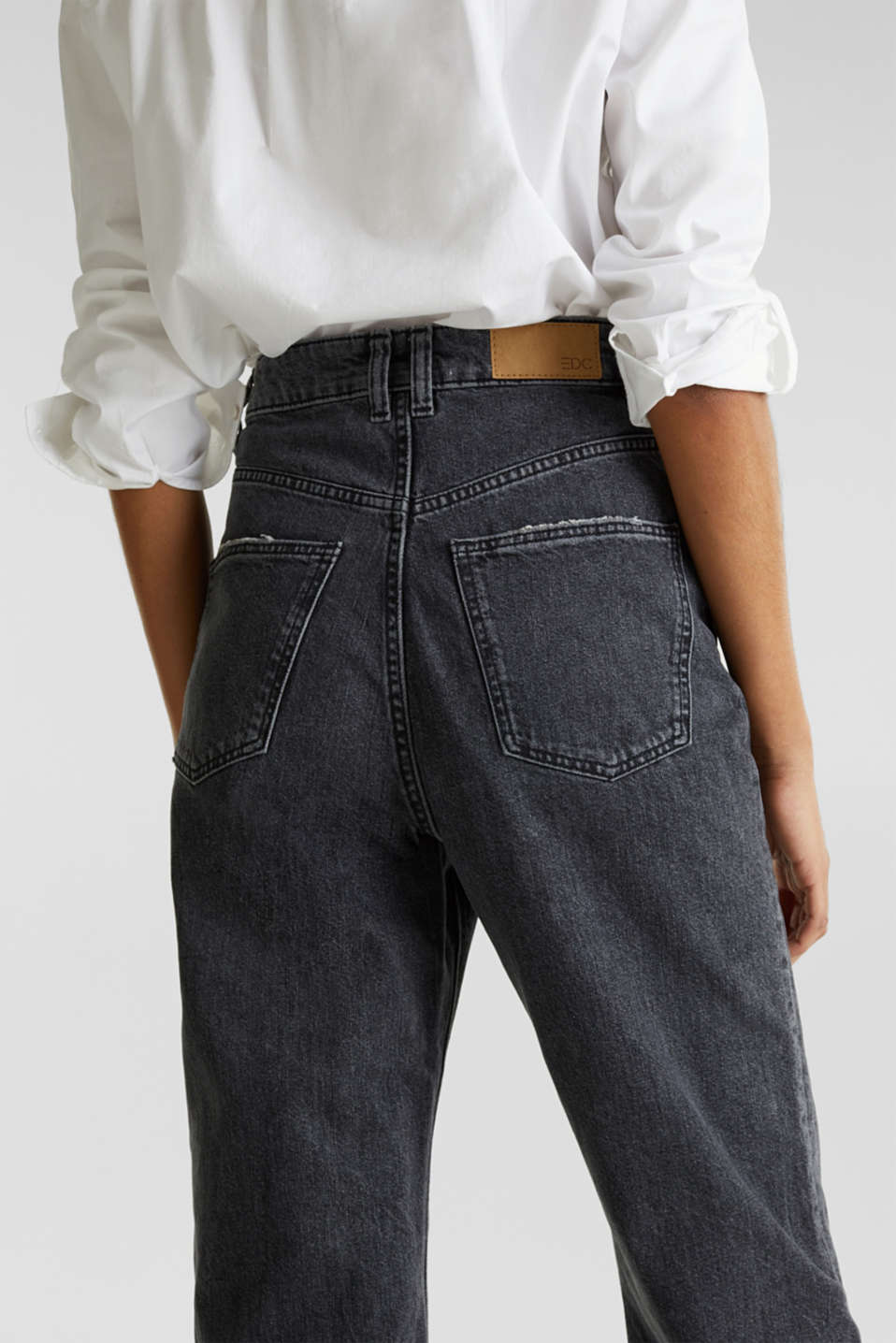 Ankle-length stretch jeans with a wide leg, BLACK RINSE, detail image number 5