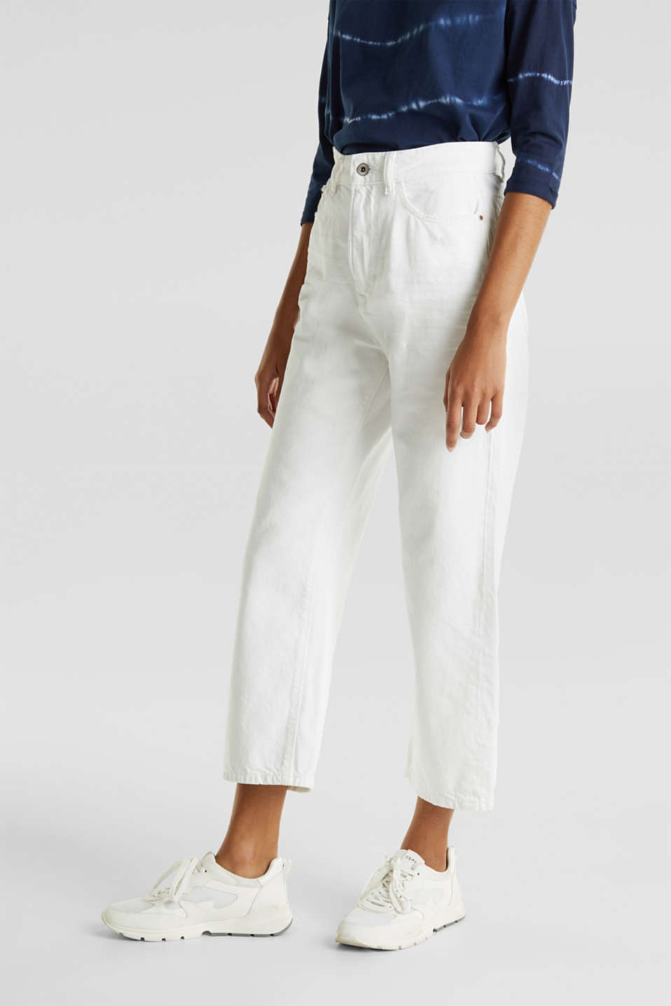 Ankle-length jeans, 100% cotton, WHITE, detail image number 5
