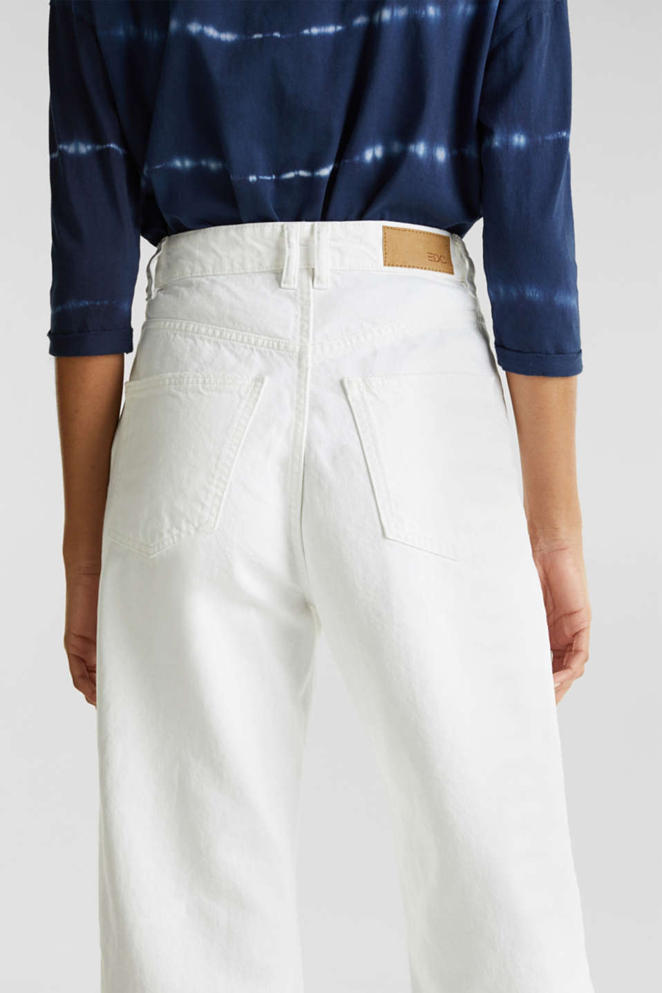 Ankle-length jeans, 100% cotton, WHITE, detail image number 2