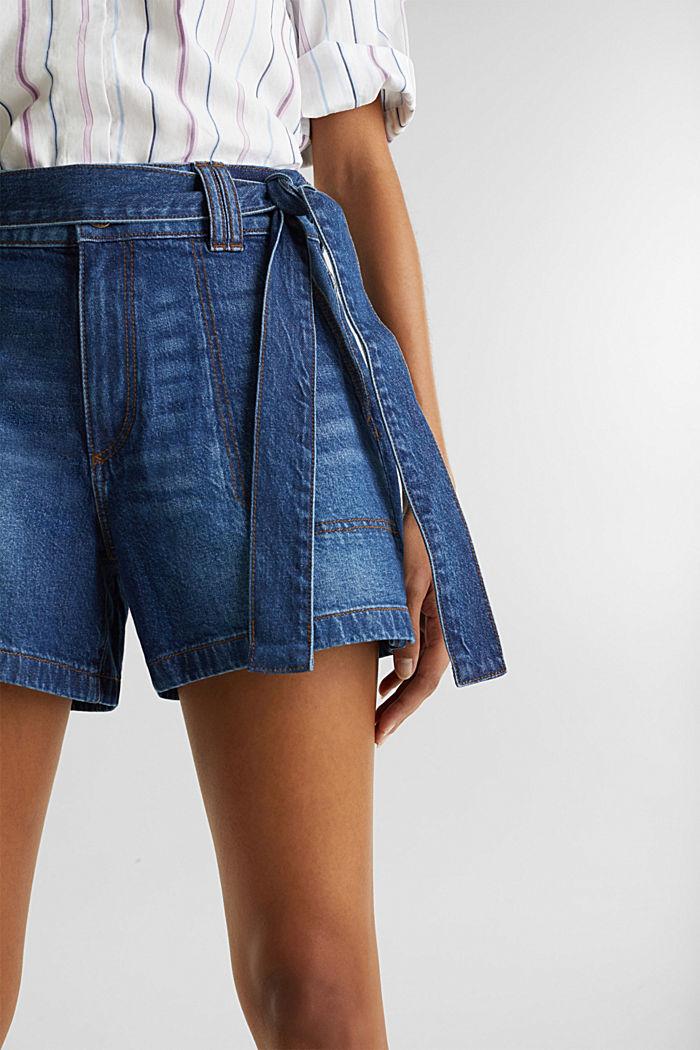 Denim shorts with a belt, BLUE DARK WASHED, detail image number 2